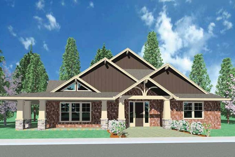 Craftsman Exterior - Front Elevation Plan #509-281