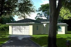Ranch Exterior - Front Elevation Plan #1-1017