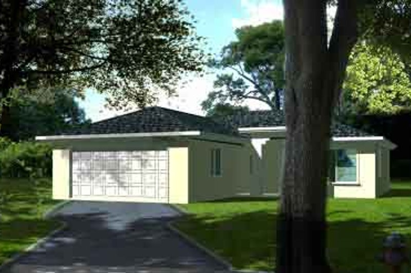 Ranch Style House Plan - 3 Beds 2 Baths 1107 Sq/Ft Plan #1-1017 Exterior - Front Elevation