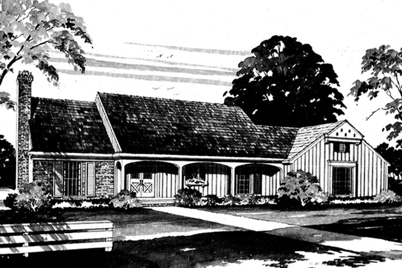 House Blueprint - Exterior - Front Elevation Plan #72-635