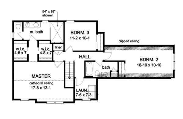 Country Floor Plan - Upper Floor Plan Plan #1010-78