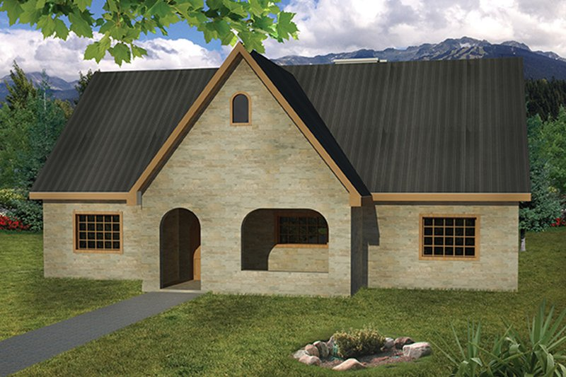 Cottage Exterior - Front Elevation Plan #1061-10
