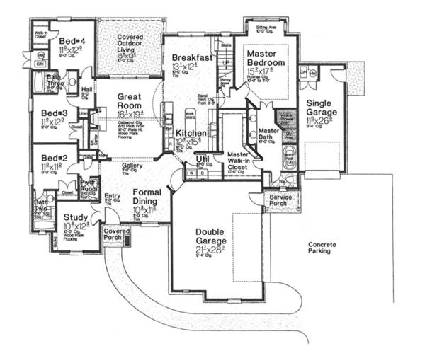 House Plan Design - European Floor Plan - Main Floor Plan #310-1271