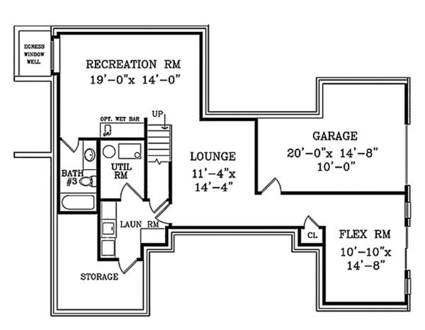 Country Floor Plan - Lower Floor Plan Plan #314-284