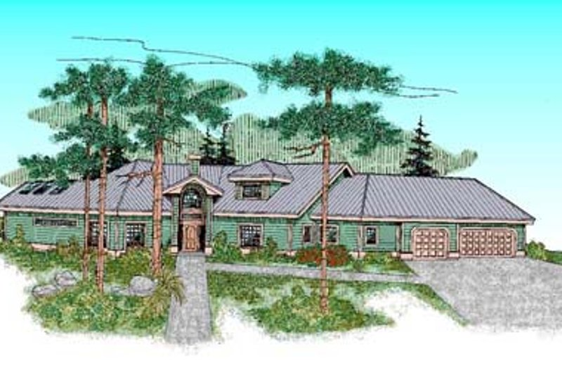 Ranch Style House Plan - 4 Beds 2.5 Baths 2485 Sq/Ft Plan #60-441 Exterior - Front Elevation