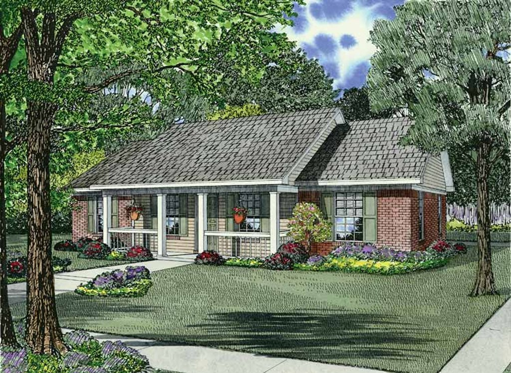 Country Style House Plan 3 Beds 2 Baths 1100 Sq Ft Plan 17 2773 Dreamhomesource Com
