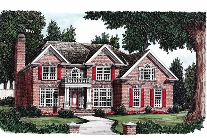 Colonial Exterior - Front Elevation Plan #927-75