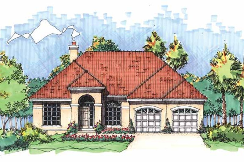 Mediterranean Exterior - Front Elevation Plan #929-590