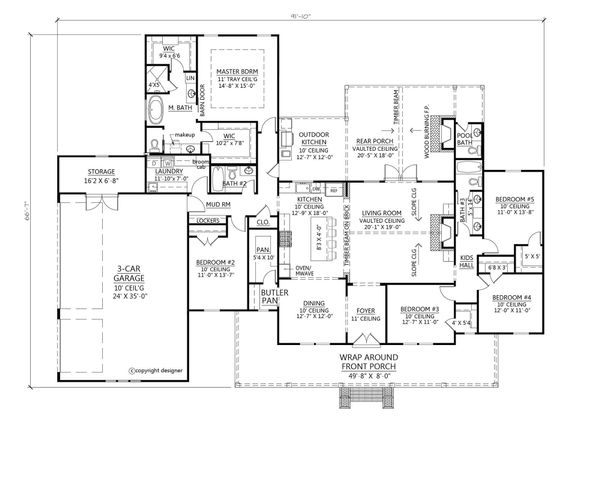 Farmhouse Floor Plan - Main Floor Plan Plan #1074-5