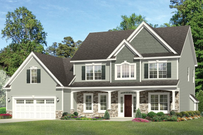 Colonial Exterior - Front Elevation Plan #1010-126