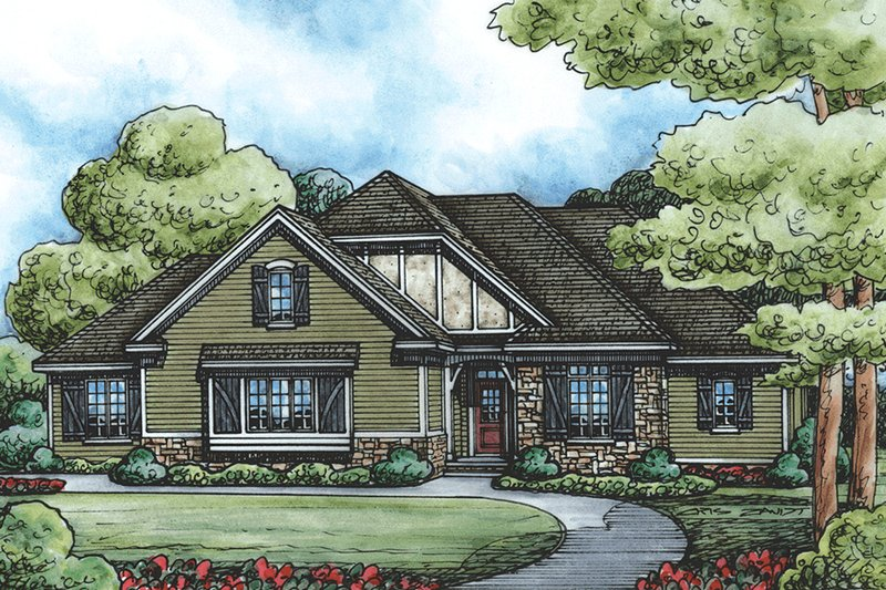 European Style House Plan - 3 Beds 3.5 Baths 2709 Sq/Ft Plan #20-2264 Exterior - Front Elevation