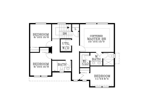 Craftsman Floor Plan - Upper Floor Plan Plan #53-605