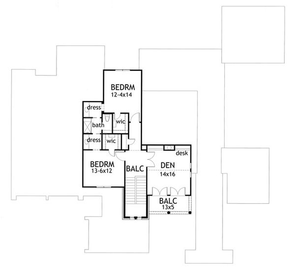 Mediterranean Floor Plan - Upper Floor Plan Plan #120-163