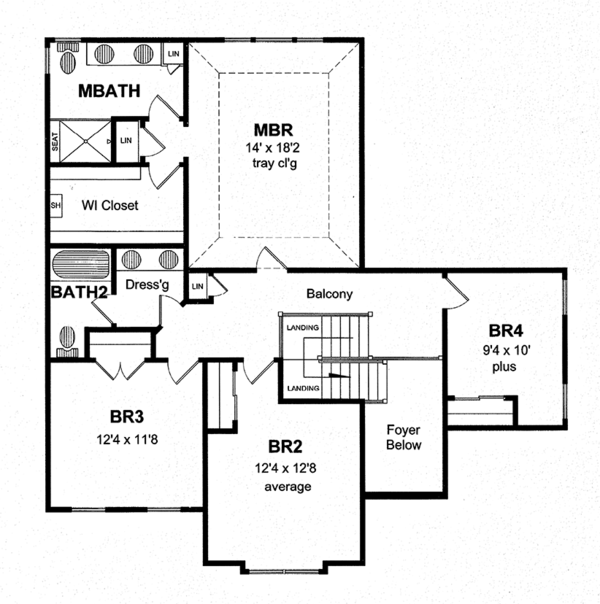 Colonial Floor Plan - Upper Floor Plan Plan #316-280