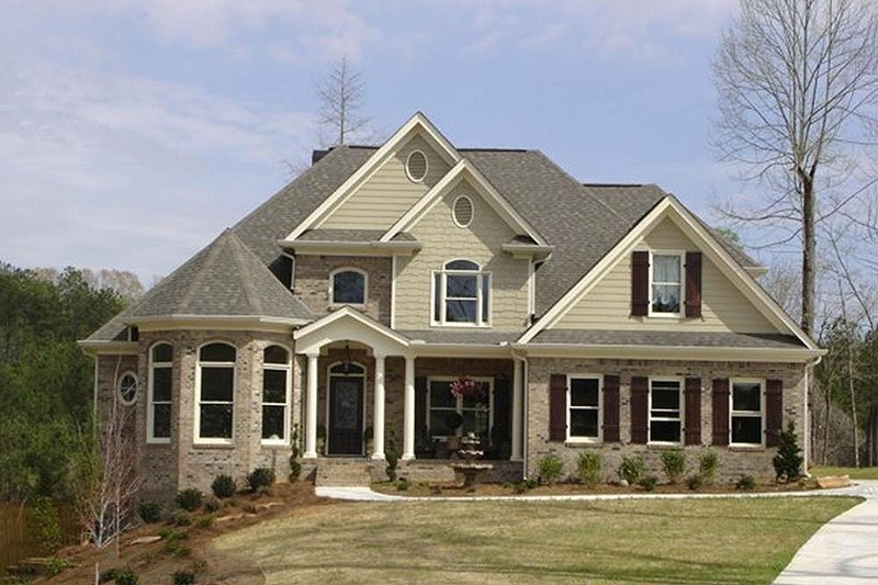European Style House Plan - 4 Beds 3 Baths 2253 Sq/Ft Plan #56-178 Exterior - Front Elevation