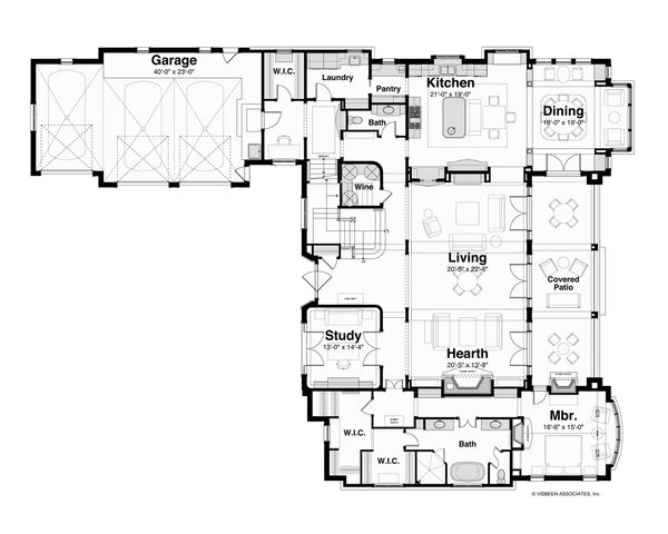 European Floor Plan - Main Floor Plan Plan #928-3