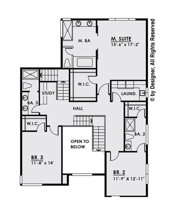 Modern Style House Plan - 4 Beds 3.5 Baths 3595 Sq/Ft Plan #1066-3 Floor Plan - Upper Floor Plan