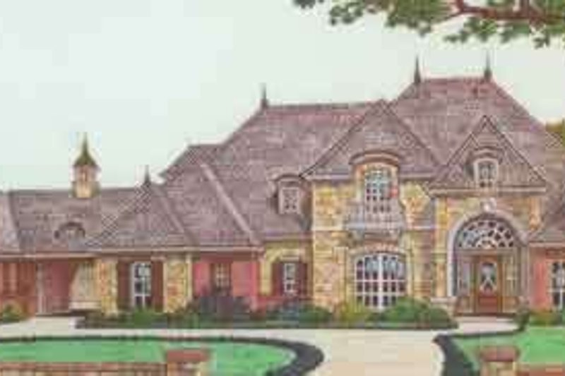 European Style House Plan - 5 Beds 5.5 Baths 5300 Sq/Ft Plan #310-347 Exterior - Front Elevation
