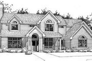 Traditional Style House Plan - 4 Beds 3 Baths 3058 Sq/Ft Plan #120-105 Exterior - Front Elevation