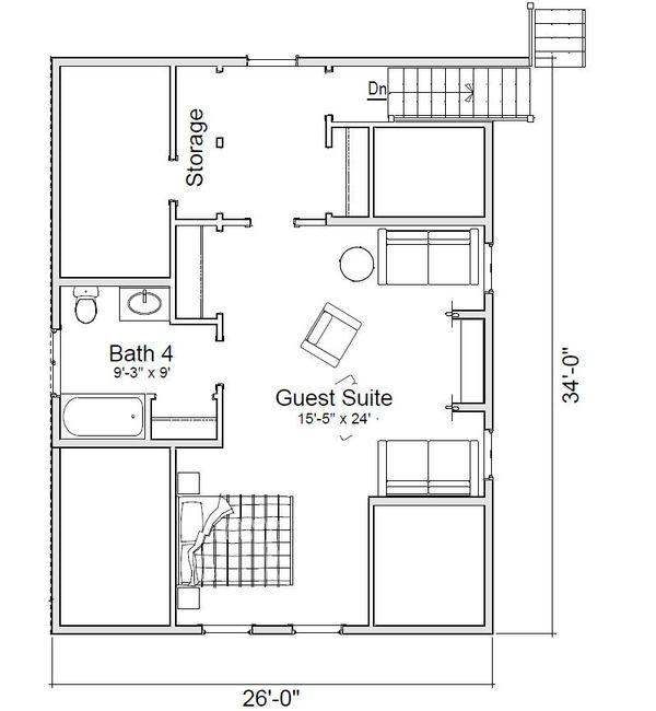 Craftsman Floor Plan - Upper Floor Plan Plan #451-20
