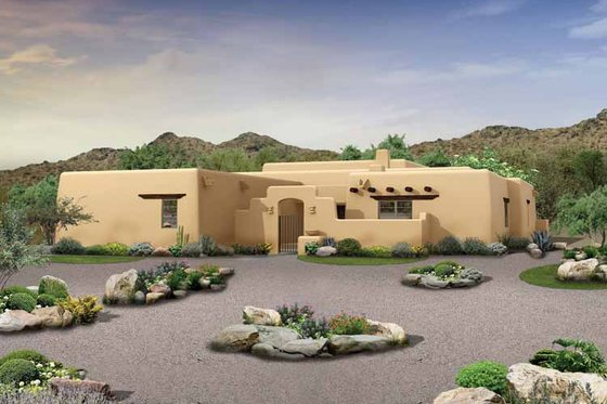 Architectural House Design - Adobe / Southwestern Exterior - Front Elevation Plan #72-1024