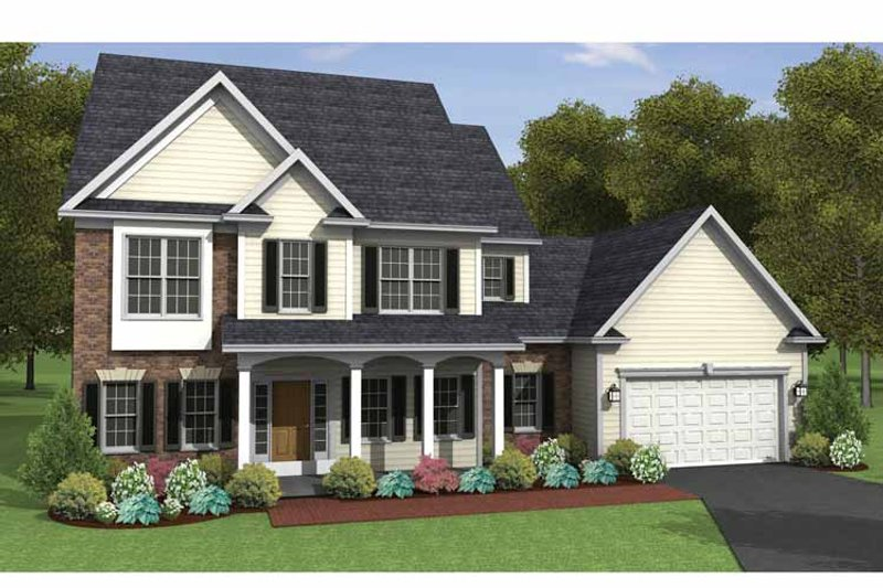 Colonial Exterior - Front Elevation Plan #1010-18 - Houseplans.com