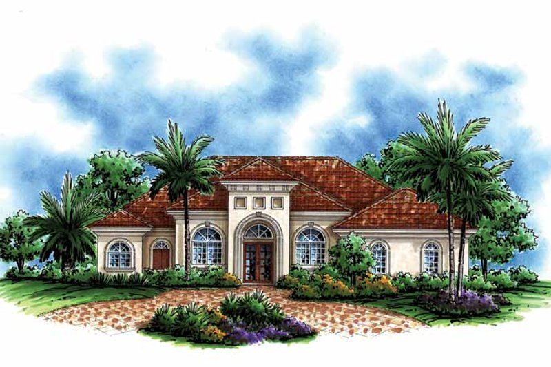 Mediterranean Exterior - Front Elevation Plan #1017-142