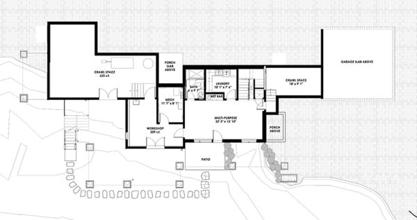 Architectural House Design - Prairie Floor Plan - Lower Floor Plan #1042-17