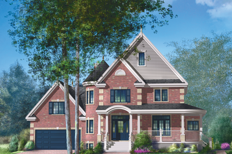 Victorian Style House Plan - 3 Beds 2 Baths 2562 Sq/Ft Plan #25-4691 Exterior - Front Elevation