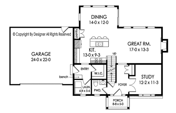 Traditional Floor Plan - Main Floor Plan Plan #1010-201