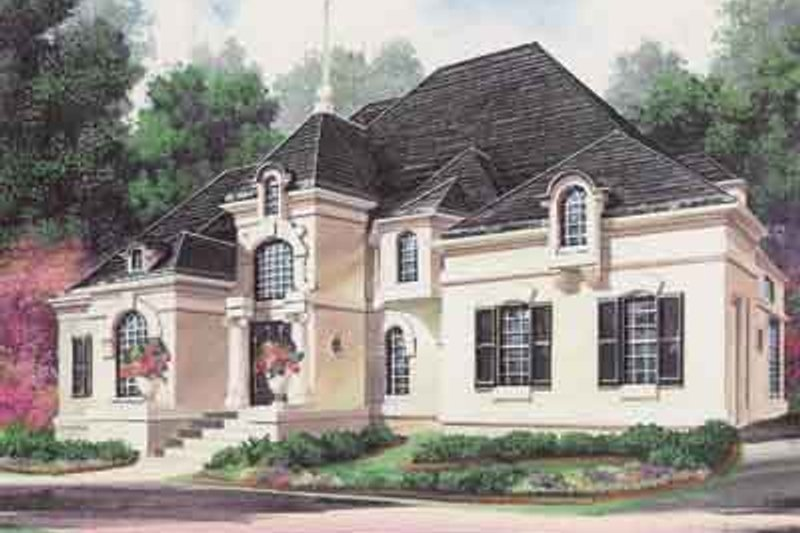 European Style House Plan - 4 Beds 4 Baths 4553 Sq/Ft Plan #119-203 Exterior - Front Elevation