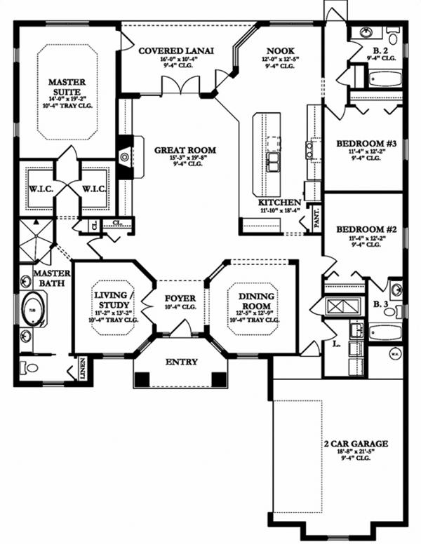 Mediterranean Floor Plan - Main Floor Plan Plan #1058-128