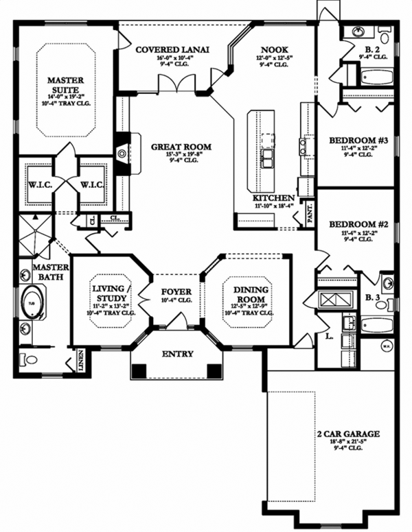 Mediterranean Floor Plan - Main Floor Plan Plan #1058-128