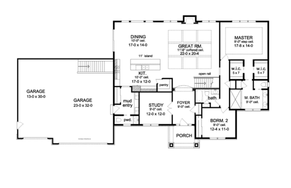 Ranch style house plan 2 beds 2 5 baths 2272 sq ft plan for Ranch floor plans with great room