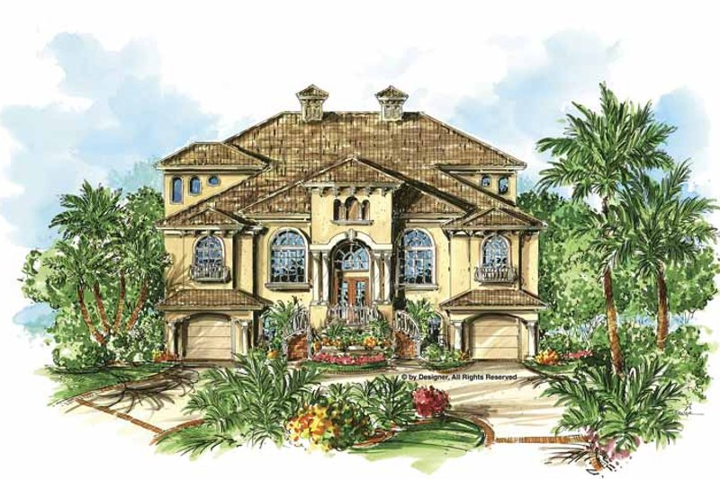 Dream House Plan - Mediterranean Exterior - Front Elevation Plan #1017-94