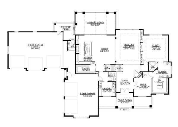 Dream House Plan - Farmhouse Floor Plan - Main Floor Plan #1064-99