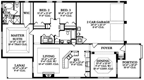 Mediterranean Floor Plan - Main Floor Plan Plan #1058-137