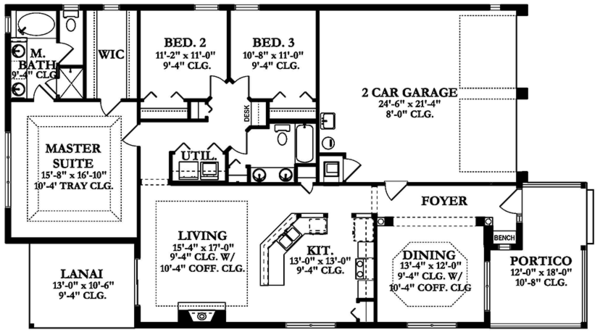 Mediterranean Floor Plan - Main Floor Plan Plan #1058-137