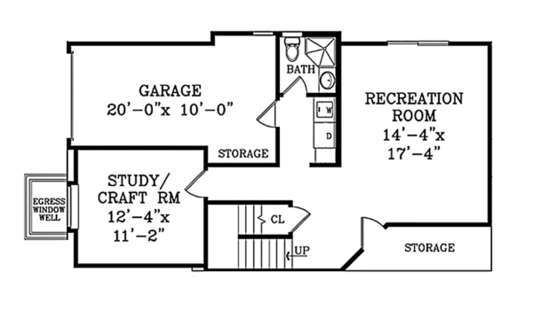 Craftsman Floor Plan - Lower Floor Plan Plan #314-283