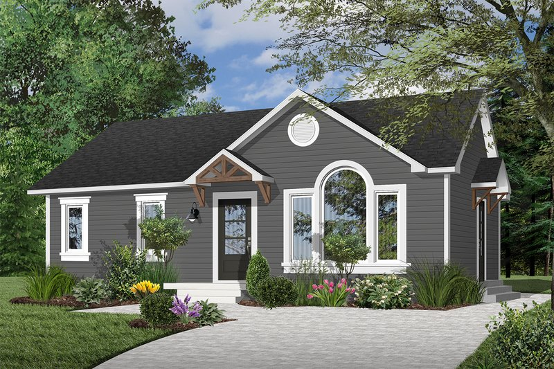Traditional Style House Plan - 2 Beds 1 Baths 1064 Sq/Ft Plan #23-179 Exterior - Front Elevation