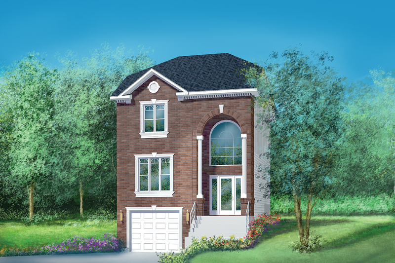 European Style House Plan - 2 Beds 1.5 Baths 1766 Sq/Ft Plan #25-2142 Exterior - Front Elevation