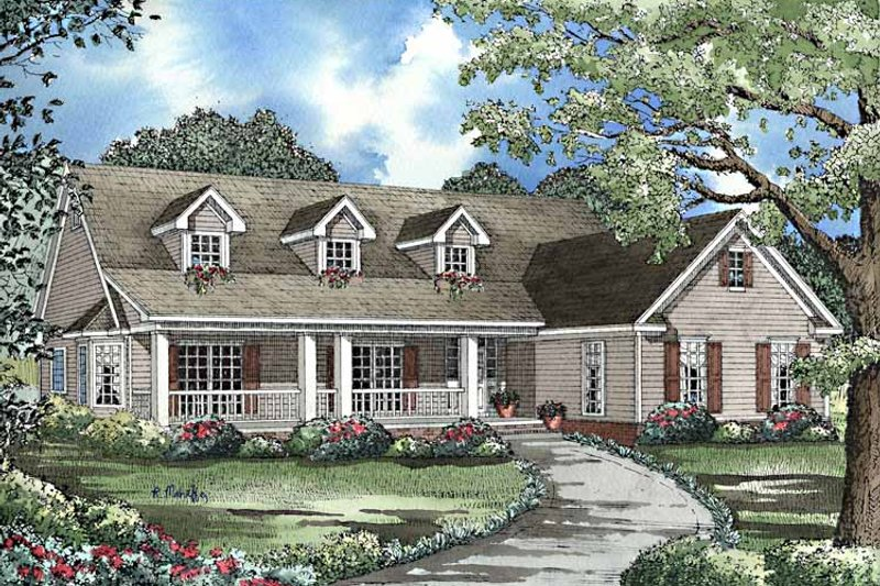 Country Exterior - Front Elevation Plan #17-3216