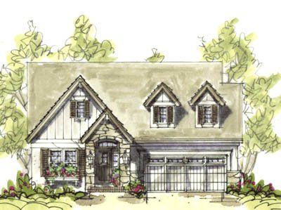 Country Style House Plan - 2 Beds 2 Baths 1556 Sq/Ft Plan #20-1211 Exterior - Front Elevation