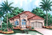Mediterranean Style House Plan - 2 Beds 2 Baths 3154 Sq/Ft Plan #27-507 Exterior - Front Elevation