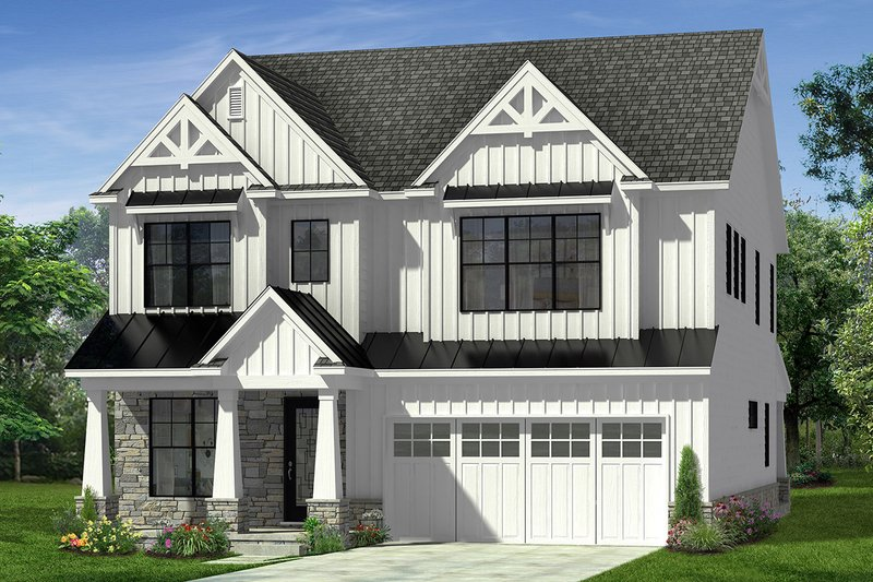 Farmhouse Style House Plan - 4 Beds 3.5 Baths 2982 Sq/Ft Plan #1057-15 Exterior - Front Elevation
