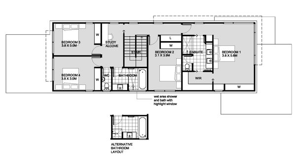 Modern Floor Plan - Upper Floor Plan Plan #496-27