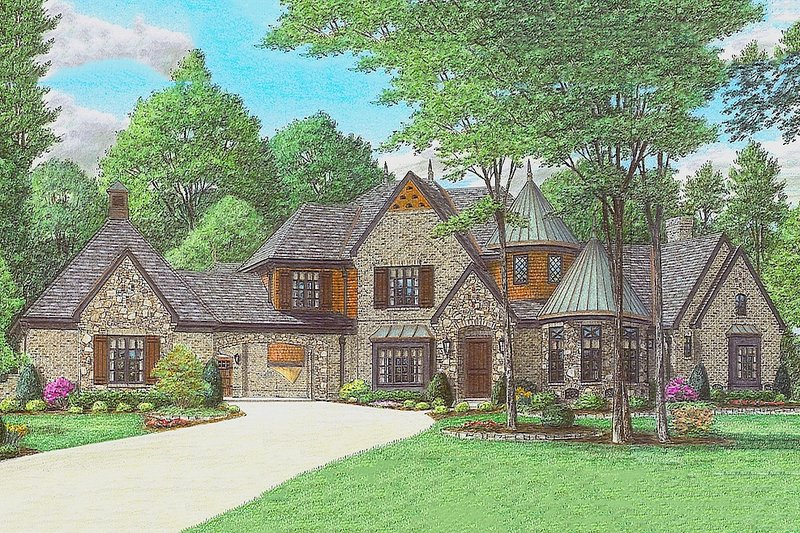 European Style House Plan - 4 Beds 4 Baths 8205 Sq/Ft Plan #81-13914 Exterior - Front Elevation