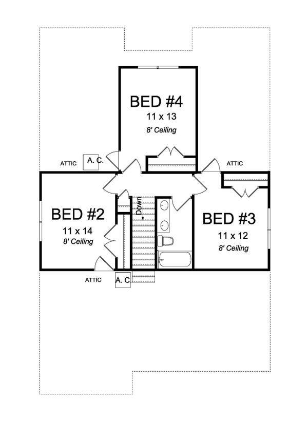 Architectural House Design - Craftsman Floor Plan - Upper Floor Plan #513-2169