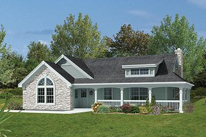 Dream House Plan - Farmhouse Exterior - Front Elevation Plan #57-340