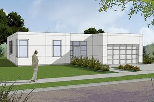 Modern Exterior - Front Elevation Plan #48-470